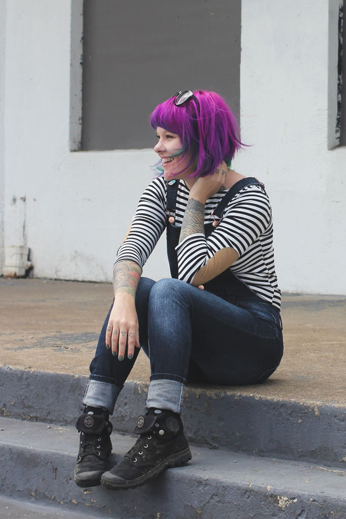 overalls, the dainty squid, purple hair, palladium boots