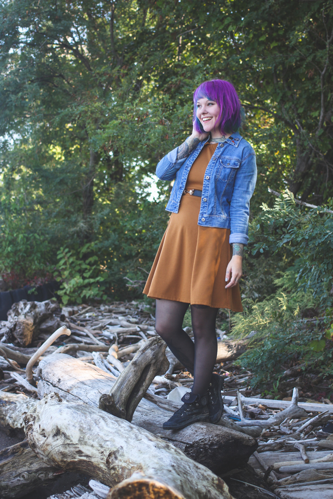 the dainty squid, purple hair, outfit post, palladium boots