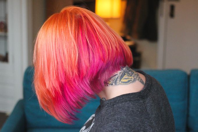 orange and pink hair