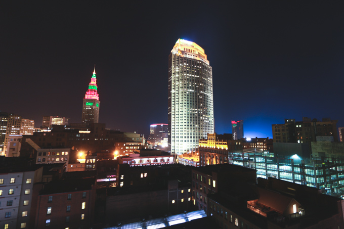 night photography, terminal tower, Cleveland