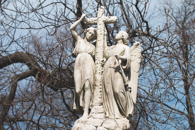 lake view cemetery, angels, headstone
