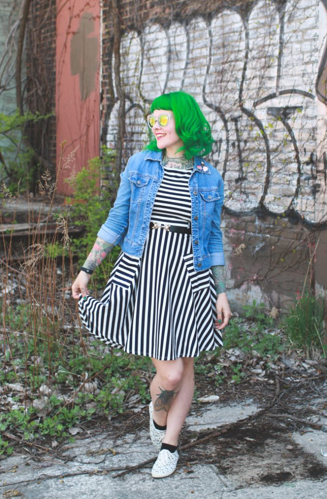 black and white striped dress with jean jacket, outfit post, fashion blog, Cleveland blogger