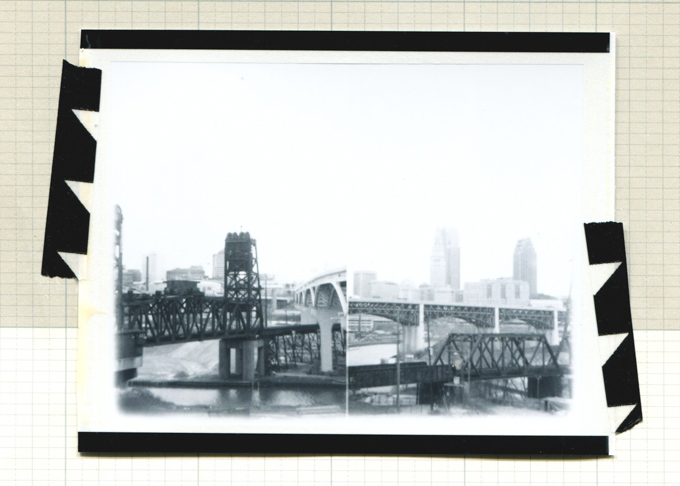 Cleveland, bridge, black and white instant film