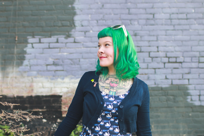 green hair, cleveland, fashion blog, outfit post