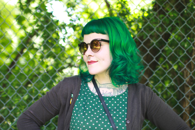 Cleveland Fashion Blog, green hair, Kaylah Doolan, colourpop bumble