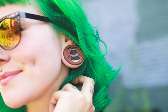 omerica organic, plugs, wood, stretched ears
