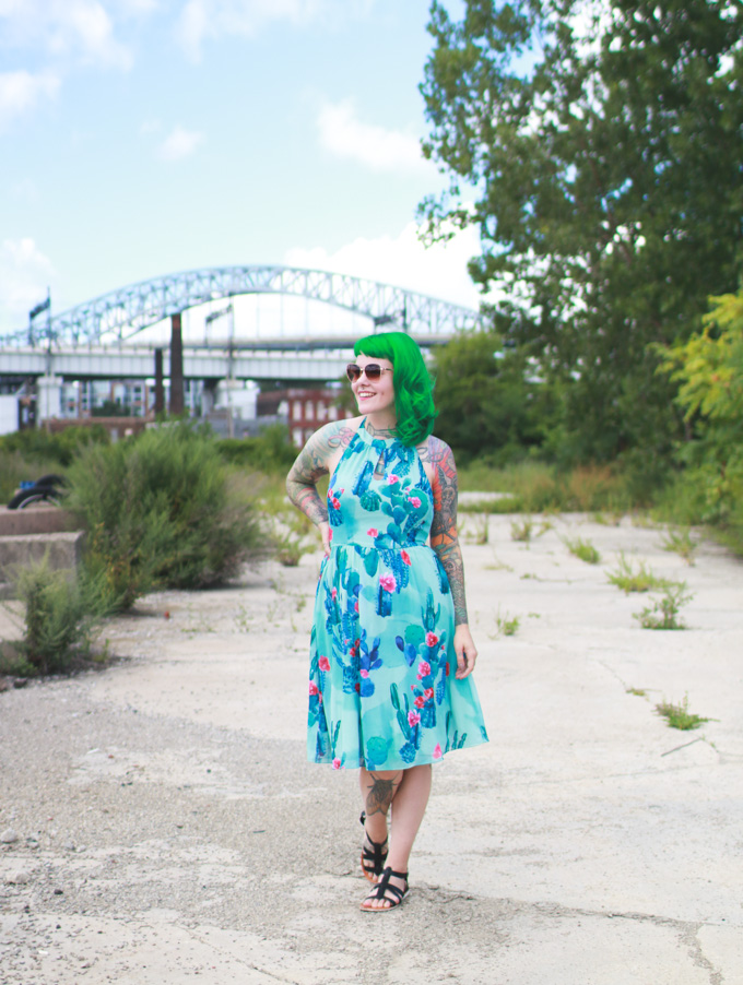 modcloth, the dainty squid, green hair, kaylah doolan, cleveland, blogger, fashion