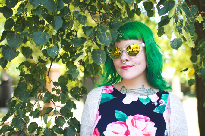cleveland, blogger, what I wore, green hair