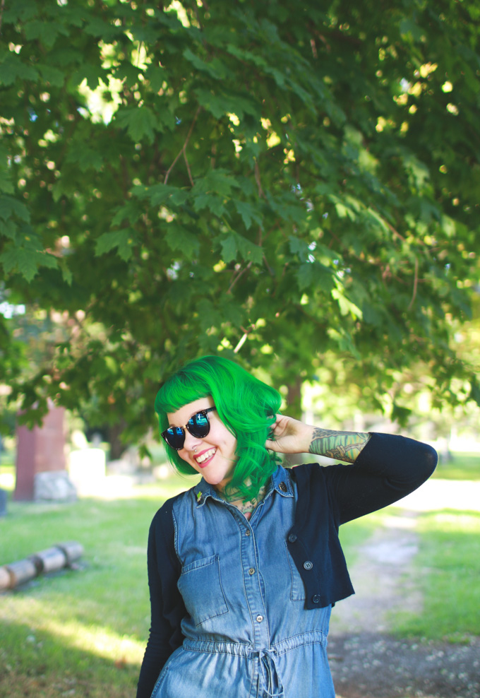 the dainty squid, green hair, fashion blog