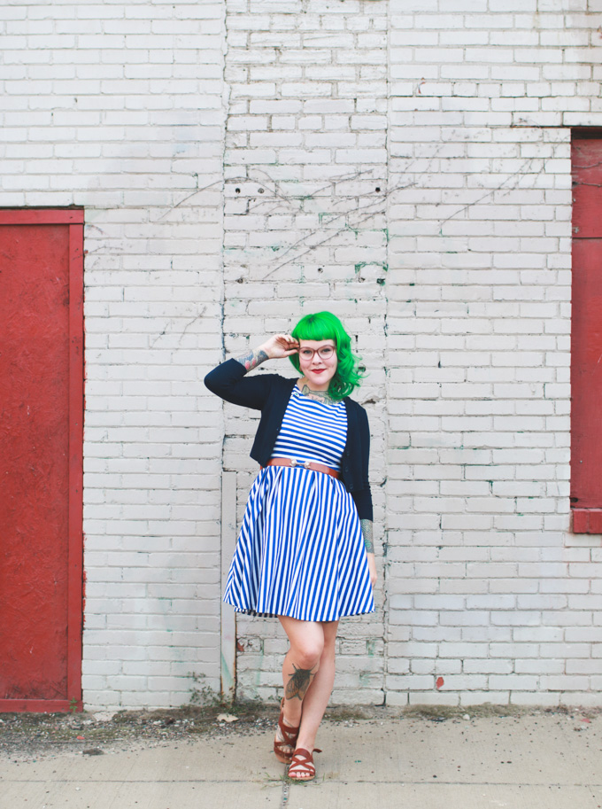 what I wore, fashion blog, striped dress, kaylah doolan, green hair,