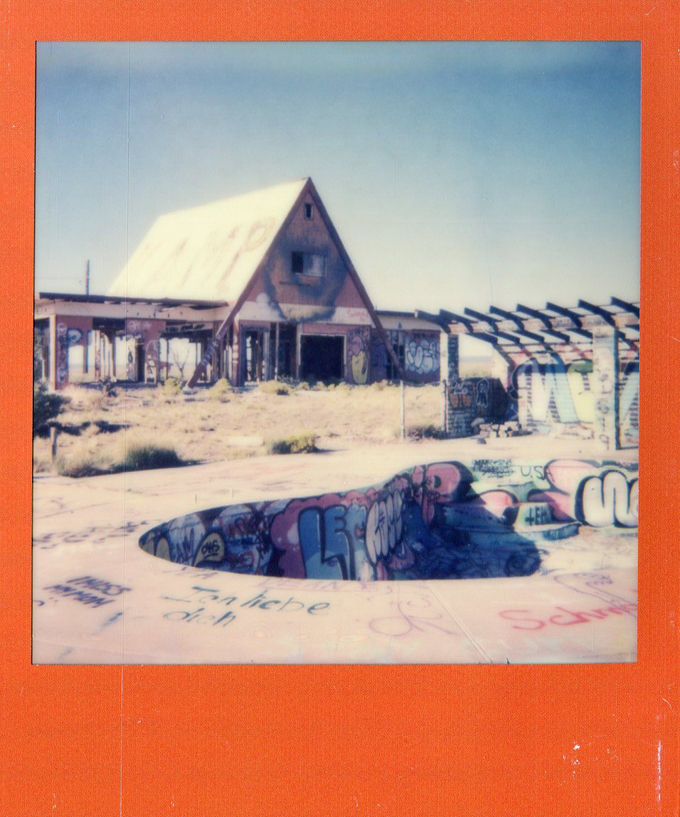 abandoned swimming pool, arizona, impossible project, polaroid