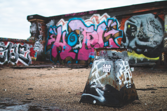 sad ugly, sticker, graffiti, cleveland, rooftop