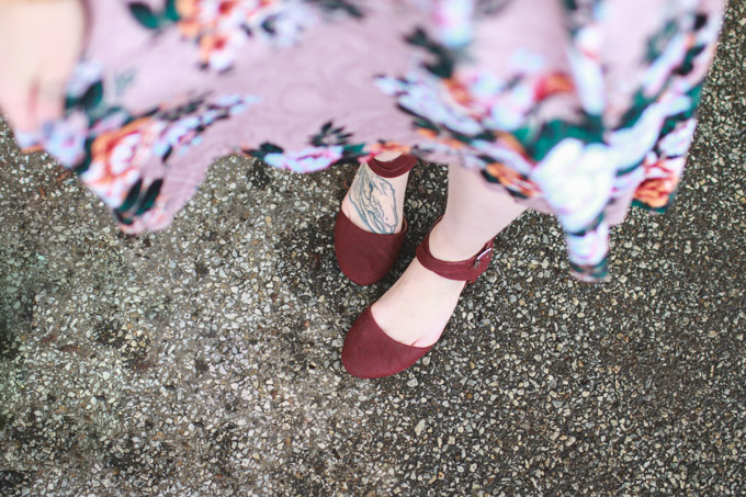 maroon shoes, flats, what I wore