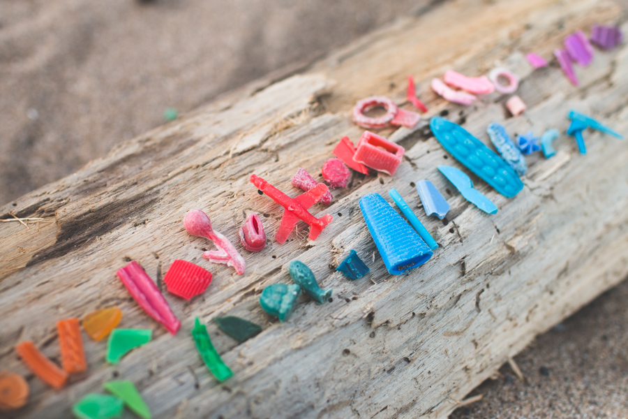 microplastic beach trash, rainbow, beachcombing