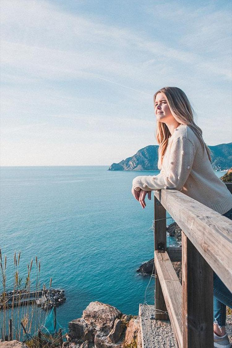 Kayla overlooking Vernazza in Cinque Terre, Italy