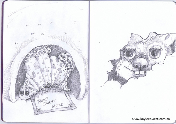 Children's Illustration: Sketchbook Project Drawings - Pencil Sketches