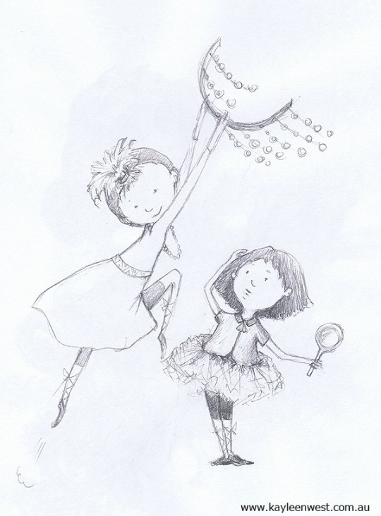 Children's Illustration: Sketches - Girls playing