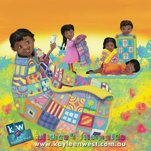 Childrens Illustration for Quilts for Orphans India