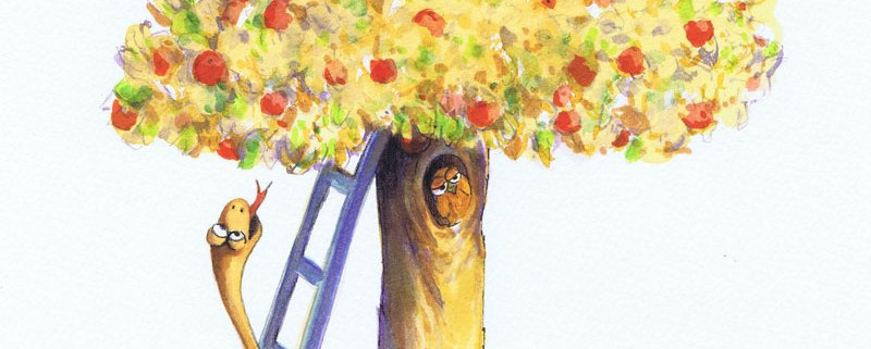 Childrens's Book Illustration: Eve and the tree of Knowledge - watercolour