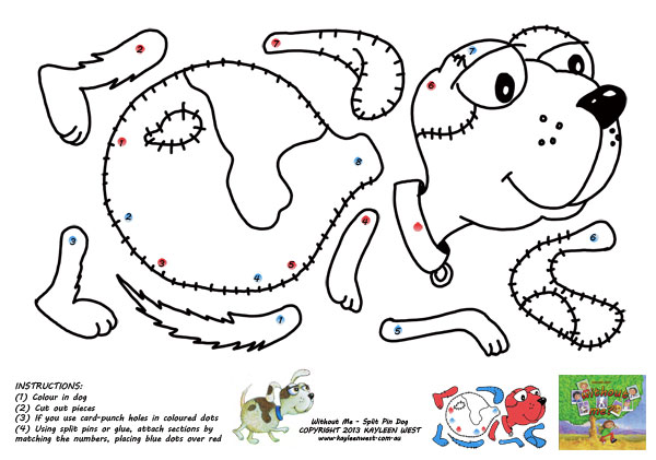 Free kids craft activity. Colour in and make a moving puppy.