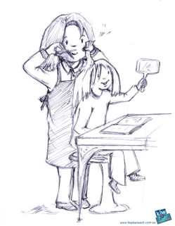 Girl at the hair salon- children's illustration sketch for Illustration Friday - Lush