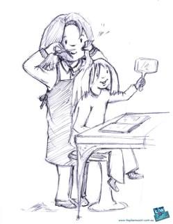Girl at the hair salon- children's illustration sketch for Illustration Friday - Lush