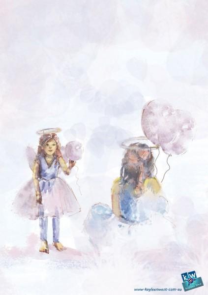 Little girl in angel costume. Watercolour gift card illustration.