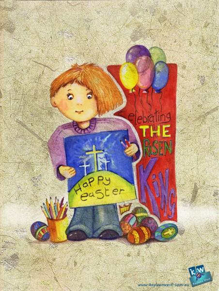 Easter gift card - Celebrating Jesus, the risen King. 52 week illustration challenge gift cards.