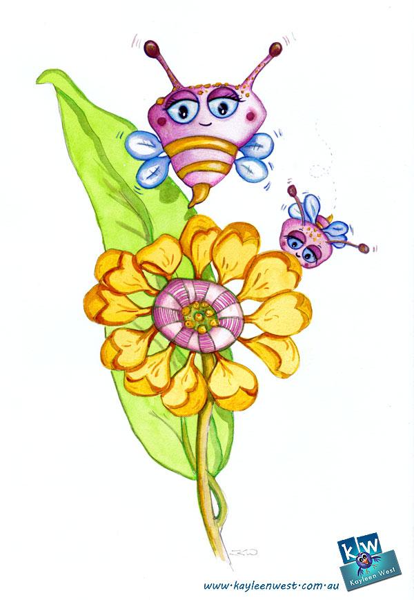 52 week illustration challenge. Gift card Challenge #illo52weeks Bees and flower. Children's Illustration