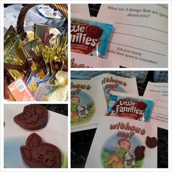 Family themed showbags for book launch - Without Me?