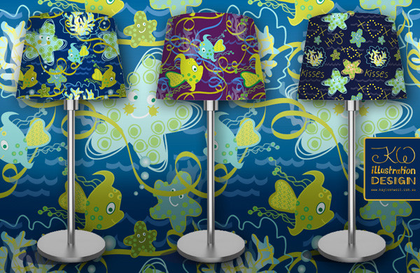 Pattern Design: Children's decor. Fish aquatic design for bolt fabric, lamps, clothing, wallpaper or stationary. Available for Licensing
