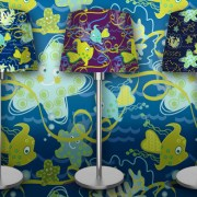 SURFACE PATTERN DESIGN: Children's decor. Fish aquatic design for bolt fabric, lamps, clothing, wallpaper or stationary. Lamp shades