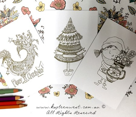 Christmas Colouring Greeting Cards (Pack of 6)