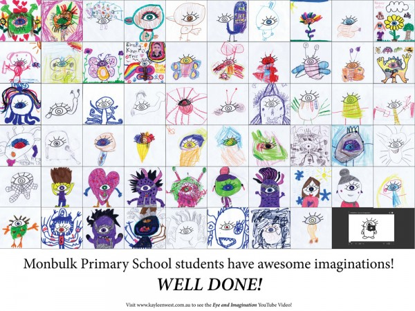 Monbulk Primary Students Montage of entries. Drawings for the eye and imagination competition.