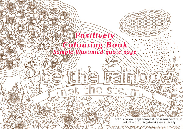 Positively Quote Colouring Books for adults - sample pages