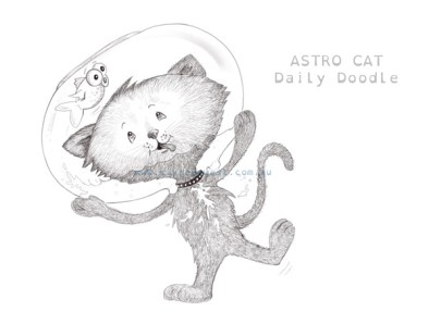Daily Doodle Astro Cat. Childrens illustration