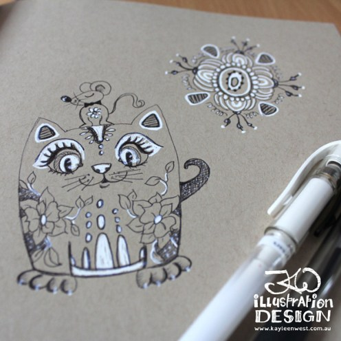 INKtober 2014. An inked sketch each day for the month of October. Today it is a inked Decor cat for a surface design illustration. #inktober
