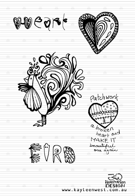 INKtober 2014. An inked sketch each day for the month of October. Bird and heart pattern design sketch. #inktober