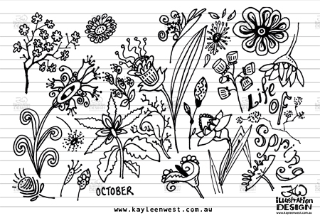 INKtober 2014. An inked sketch each day for the month of October. Flowers and seed pods inked for a surface design illustration. #inktober
