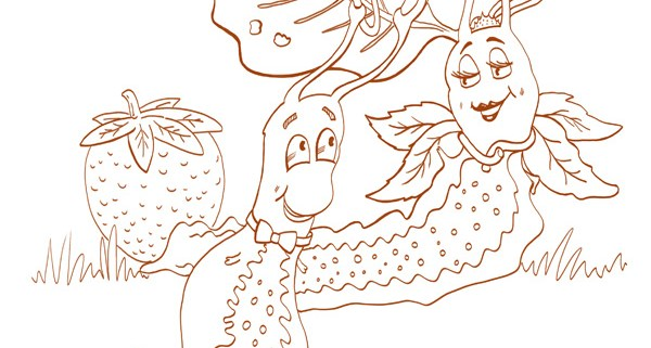 Slug In Love Illustration. Free colouring pages download. Free kids activities. Educational aids.