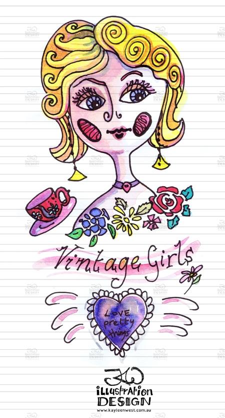 INKtober 2014. An inked sketch each day for the month of October. Vintage girls design illustration. #inktober