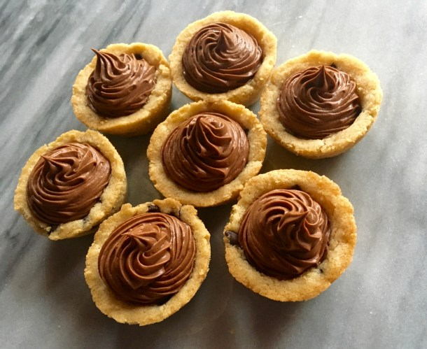 Mini Chocolate Chip Cookie Cups with Whipped Chocolate Frosting
