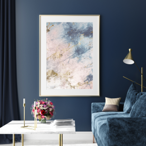 Pink and Blue Abstract Wall Print