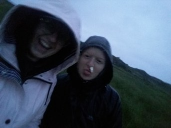 Victory selfie after climbing up and down Ben Hogh in the pouring rain ft Alice's nose bleed