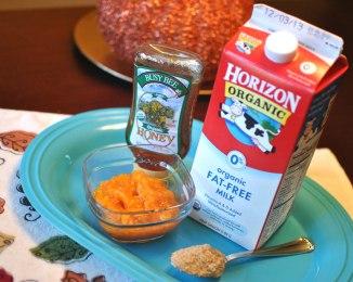 All-Natural Pumpkin Facial Scrub: pumpkin, honey, brown sugar and milk.