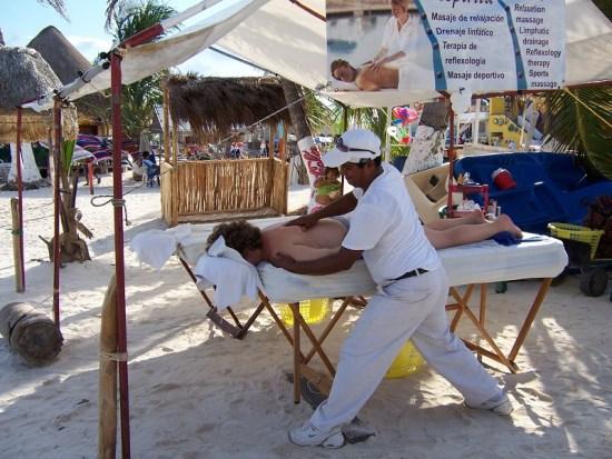 Sister M having a beach massage