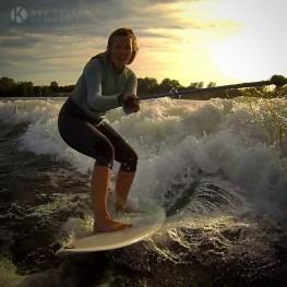 Kay wakesurfing for fun