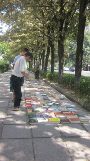 Sidewalks lined with books
