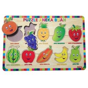 Puzzle Buah Seru - Balok Kayu Natural, Produktifitas, Aktifitas dan Kreatifitas Anak