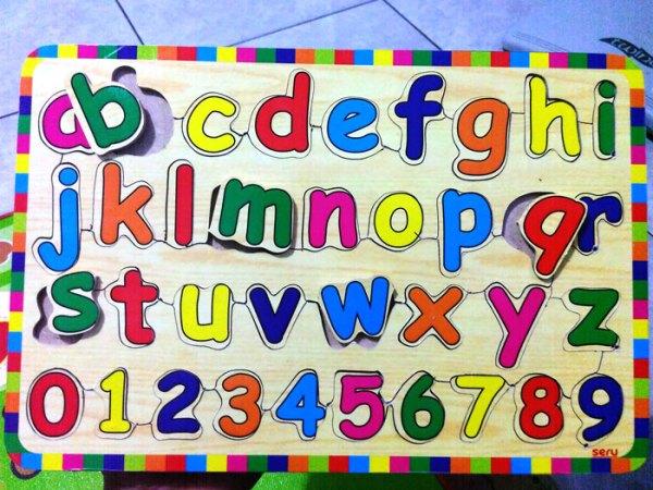 huruf kecil kayu seru - Puzzle Huruf Kecil & Angka Kayu Seru
